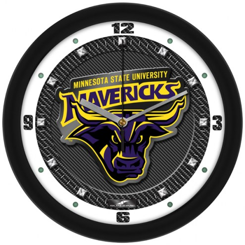 Minnesota State Mavericks Carbon Fiber Wall Clock