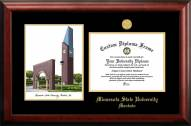 Minnesota State Mavericks Gold Embossed Diploma Frame with Campus Images Lithograph