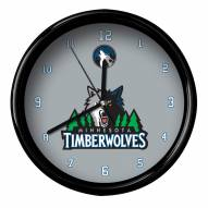 Minnesota Timberwolves Black Rim Clock