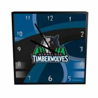 Minnesota Timberwolves Carbon Fiber Square Clock