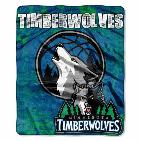 Minnesota Timberwolves Drop Down Raschel Throw Blanket