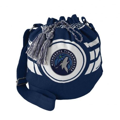 Minnesota Timberwolves Navy Ripple Drawstring Bucket Bag