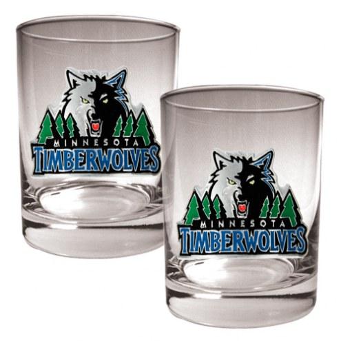 Minnesota Timberwolves NBA 2-Piece 14 Oz. Rocks Glass Set