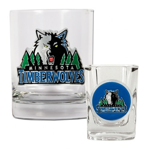 Minnesota Timberwolves NBA 14 Oz Rocks Glass & Square Shot Glass 2-Piece Set