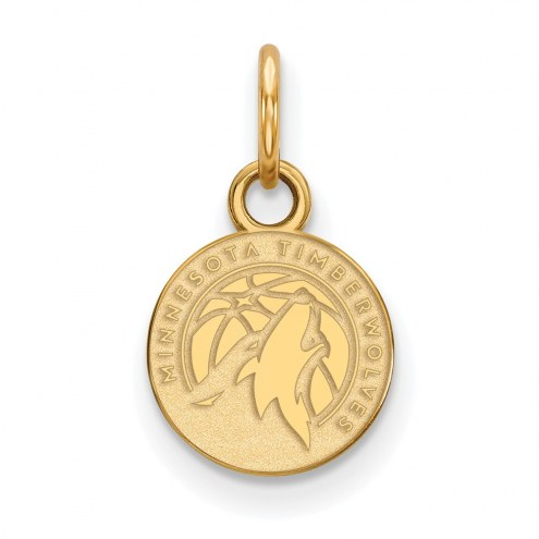Minnesota Timberwolves Sterling Silver Gold Plated Extra Small Pendant