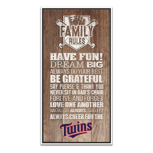 Minnesota Twins Family Rules Icon Wood Framed Printed Canvas