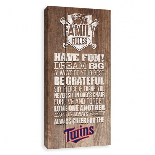 Minnesota Twins Family Rules Icon Wood Printed Canvas