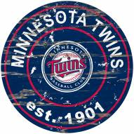 Minnesota Twins Distressed Round Sign