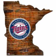 Minnesota Twins Distressed State with Logo Sign