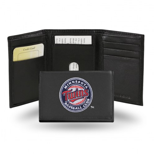 Minnesota Twins Embroidered Leather Tri-Fold Wallet
