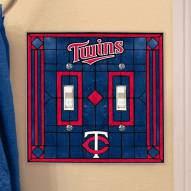 Minnesota Twins Glass Double Switch Plate Cover