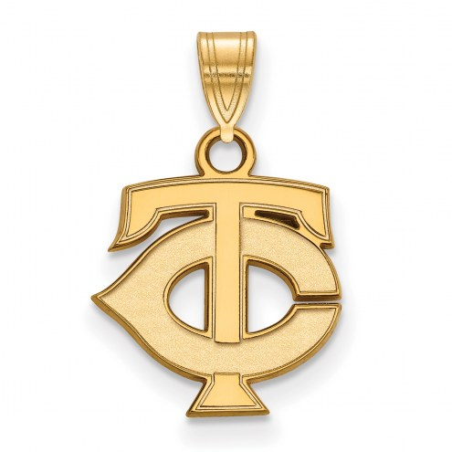 Minnesota Twins Logo Art Sterling Silver Gold Plated Small Pendant