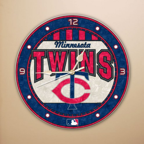 Minnesota Twins MLB Stained Glass Wall Clock