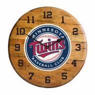 Minnesota Twins Oak Barrel Clock