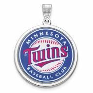Minnesota Twins Sterling Silver Disc Pendant