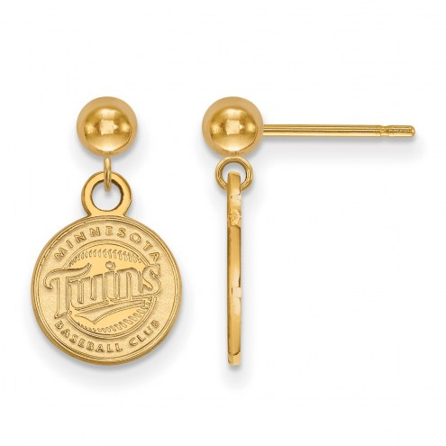 Minnesota Twins Sterling Silver Gold Plated Dangle Ball Earrings