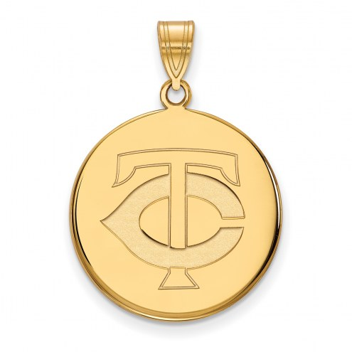 Minnesota Twins Sterling Silver Gold Plated Large Disc Pendant