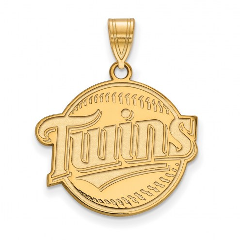 Minnesota Twins Sterling Silver Gold Plated Large Pendant