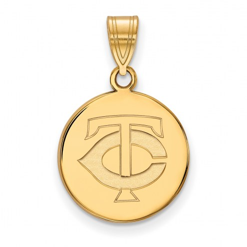 Minnesota Twins Sterling Silver Gold Plated Medium Disc Pendant