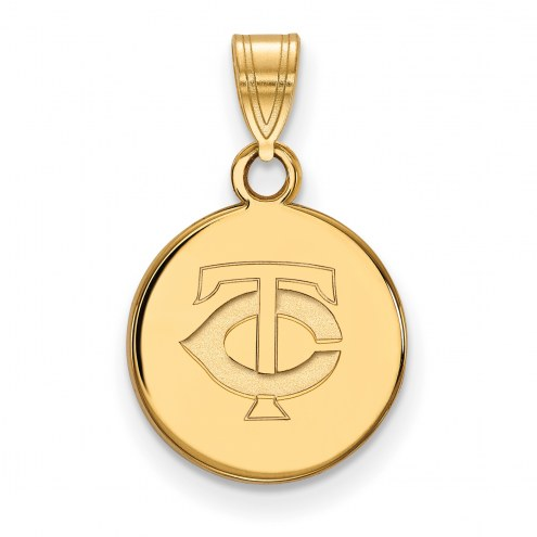 Minnesota Twins Sterling Silver Gold Plated Small Disc Pendant
