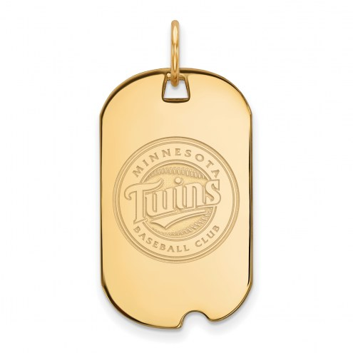 Minnesota Twins Sterling Silver Gold Plated Small Dog Tag