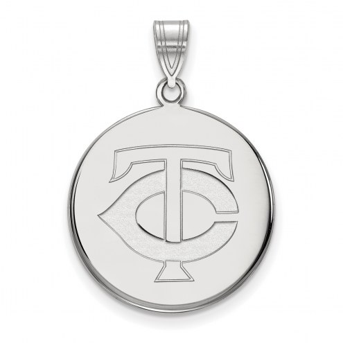 Minnesota Twins Sterling Silver Large Disc Pendant