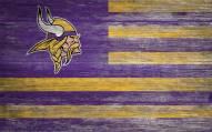 """Minnesota Vikings 11"""" x 19"""" Distressed Flag Sign"""