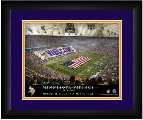 Minnesota Vikings 13 x 16 Personalized Framed Stadium Print