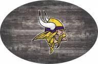 """Minnesota Vikings 46"""" Distressed Wood Oval Sign"""