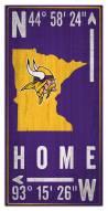 "Minnesota Vikings 6"" x 12"" Coordinates Sign"