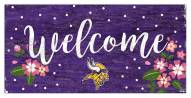 """Minnesota Vikings 6"""" x 12"""" Floral Welcome Sign"""