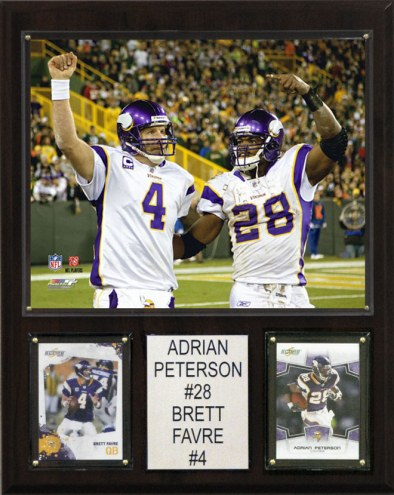 "Minnesota Vikings Adrian Peterson-Brett Favre 12 x 15"" Player Plaque"
