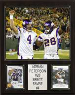 "Minnesota Vikings Adrian Peterson-Brett Favre 12 x 15"" Player Plaque"