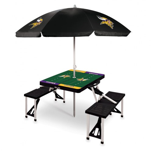 Minnesota Vikings Black Picnic Table w/Umbrella