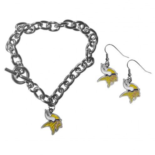 Minnesota Vikings Chain Bracelet & Dangle Earring Set