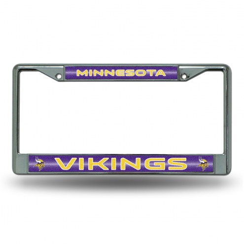 Minnesota Vikings Chrome Glitter License Plate Frame