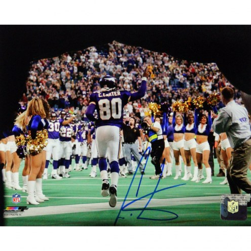 """Minnesota Vikings Cris Carter Coming Out Of The Tunnel w/ HOF Signed 16"""" x 20"""" Photo"""