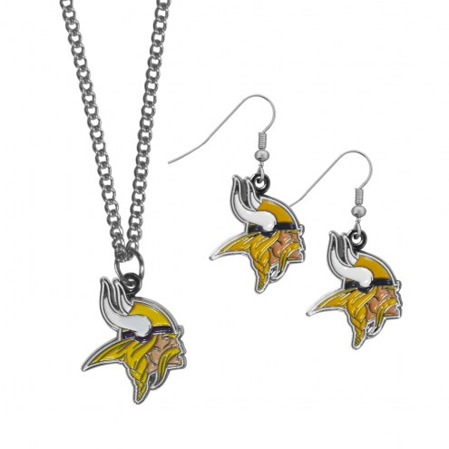 Minnesota Vikings Dangle Earrings & Chain Necklace Set