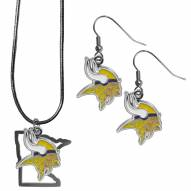 Minnesota Vikings Dangle Earrings & State Necklace Set