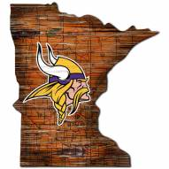 Minnesota Vikings Distressed State with Logo Sign