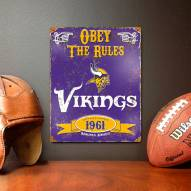 Minnesota Vikings Embossed Metal Sign