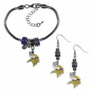 Minnesota Vikings Euro Bead Earrings & Bracelet Set