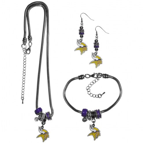 Minnesota Vikings Euro Bead Jewelry 3 Piece Set