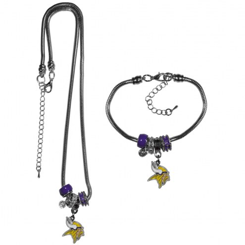 Minnesota Vikings Euro Bead Necklace & Bracelet Set