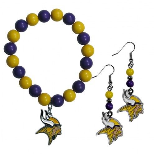 Minnesota Vikings Fan Bead Earrings & Bracelet Set