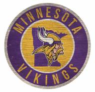 Minnesota Vikings Round State Wood Sign