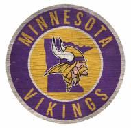 Minnesota Vikings Round State Wood Sign