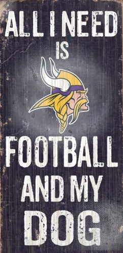 Minnesota Vikings Football & Dog Wood Sign