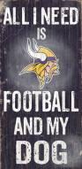 Minnesota Vikings Football & Dog Wood Sign