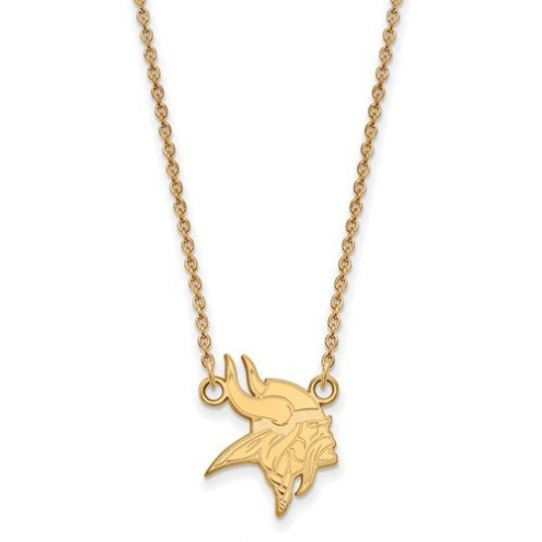 Minnesota Vikings Sterling Silver Gold Plated Small Pendant with Necklace